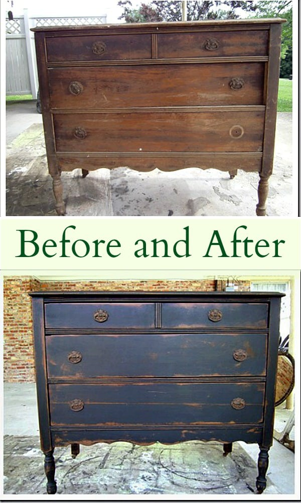 Before and After Furniture Makeover featuring a vintage vanity painted and antiqued