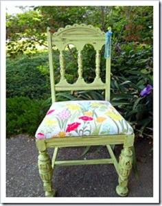 chair painted green and chair seat recovered in vintage fabric petticoat junktion