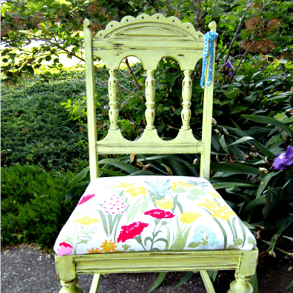 close up of painted vintage wood chair