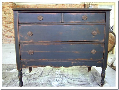 antique furniture finish - black dresser with antiqued paint