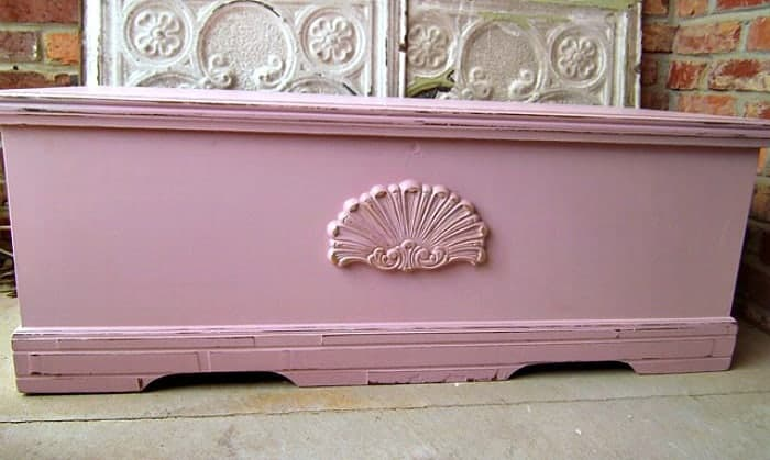 Cedar Chest Painted Pink With Added Wood Detail