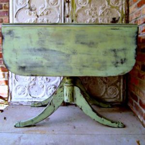 Vintage Drop Leaf Table Painted Peppercorn And Spring Green.