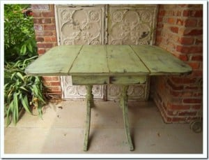 vintage drop leaf table painted and distressed green and black petticoat junktion