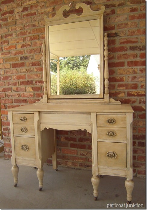 Painted Furniture, Vintage Dresser painted White, Petticoat Junktion