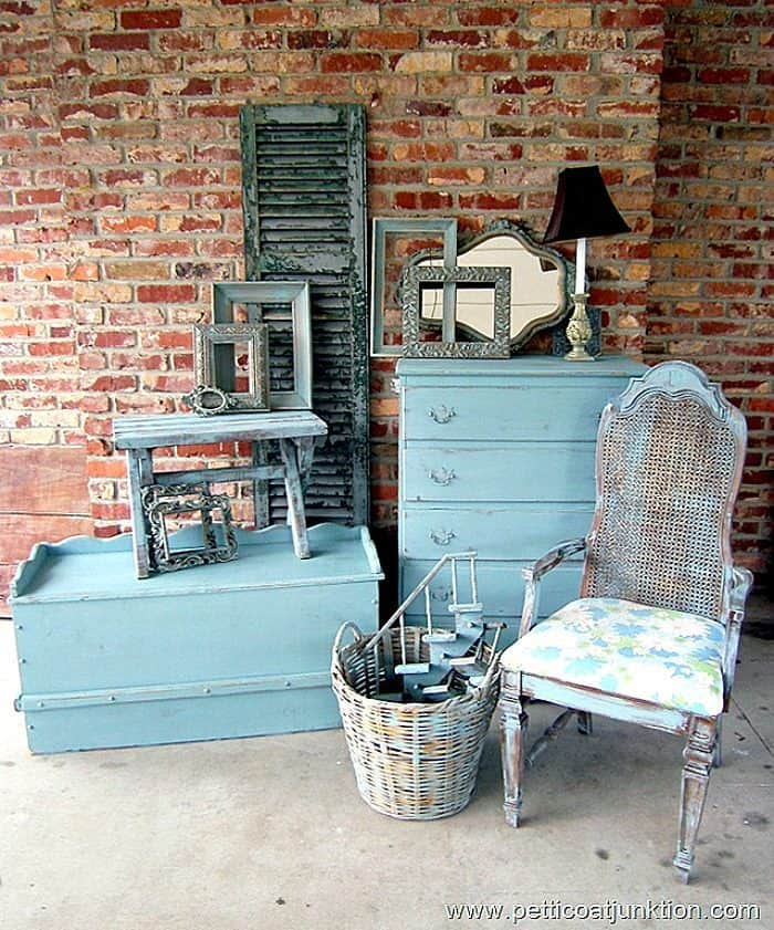 Turquoise painted furniture and home decor
