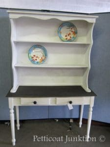 Furniture makeover, table and open hutch, painted chocolate and off-white