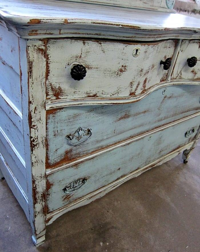 heavily distressed turquoise paint