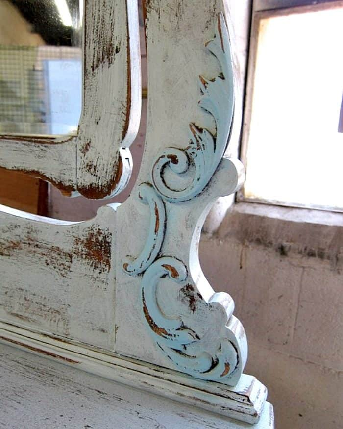pretty painted two tone turquoise details on vintage wood dresser mirror