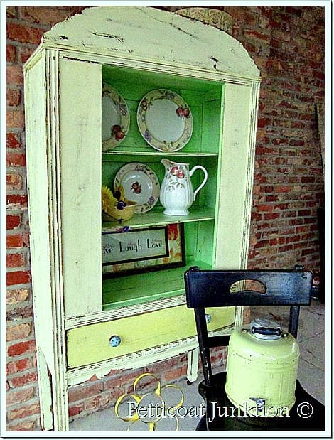 yellow china cabinet