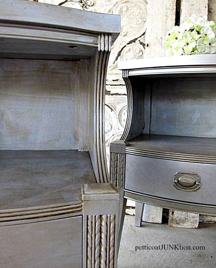 silver metallic painted furniture antiqued finish Petticoat Junktion