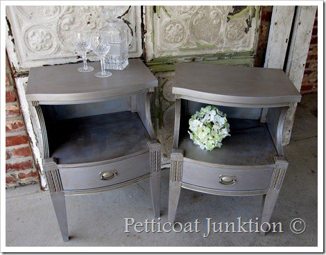 silver metallic paint adds glamour to furniture. Black Bedroom Furniture Sets. Home Design Ideas