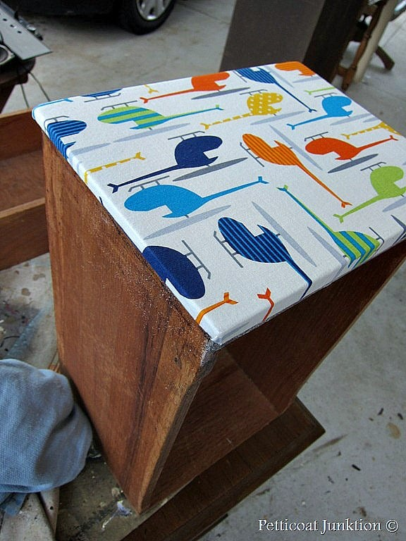 Decoupage Furniture Using Fabric With Bright Bold Colors