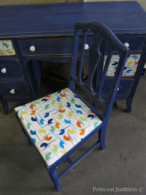 Decoupage Furniture Using Fabric and Bold Paint Color