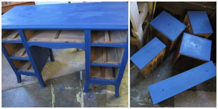 painting a desk blue and adding fabric decoupage