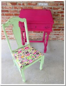 Fuchsia Painted Desk and Peace Sign Chair claimed by my Granddaughter