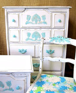 blue and white painted furniture Petticoat Junktion
