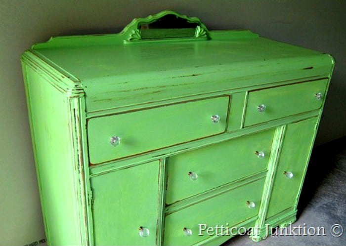 distressed paint project Petticoat Junktion green furniture makeover