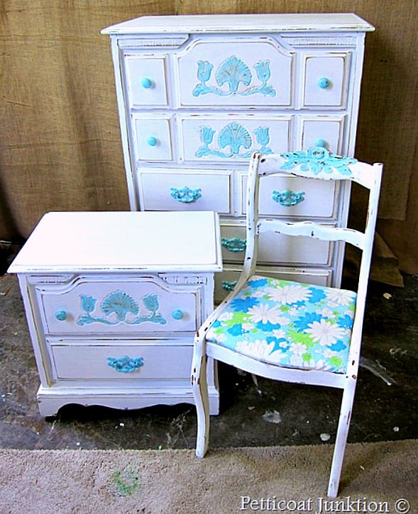 dreamy blue and white furniture restyle Petticoat Junktion