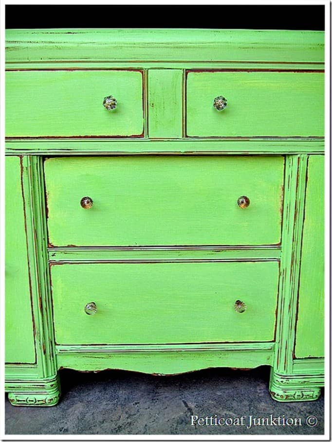 green painted furniture makeover with crystal knobs Petticoat Junktion project