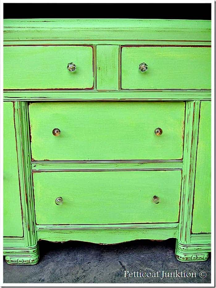 green painted furniture. Green Painted Furniture Makeover With Crystal Knobs Petticoat Junktion Project