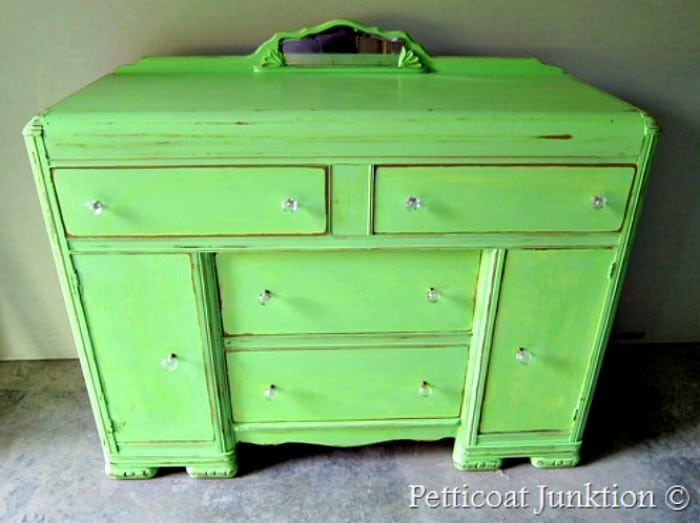 vintage buffet Petticoat Junktion painted green furniture with distressing