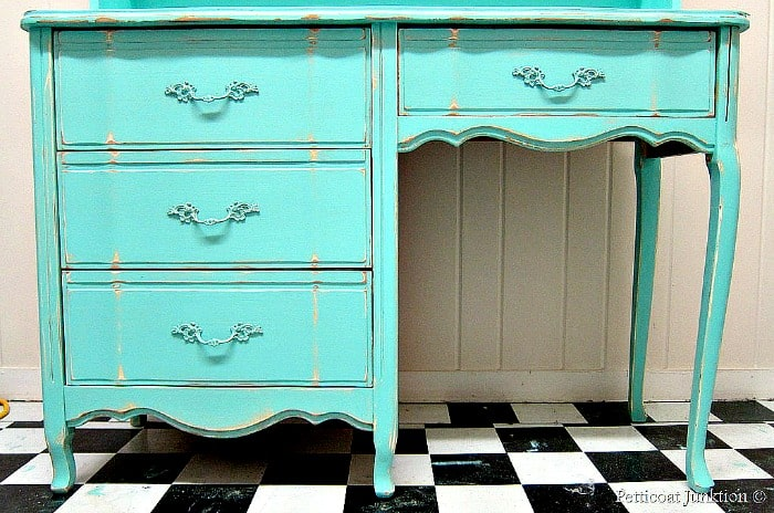 French Provincial desk makeover with turquoise paint