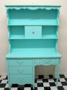 Turquoise painted desk and hutch, Petticoat Junktion