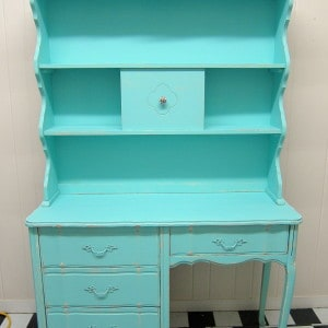 Turquoise Taffy…. Vintage French Provincial Desk and Hutch