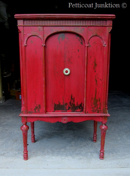 Painted cabinet using Miss Mustard Seed's Milk Paint in Tricycle, Petticoat Junktion