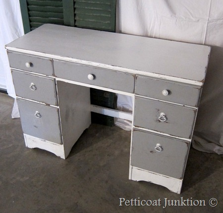 gray and white desk, Petticoat Junktion