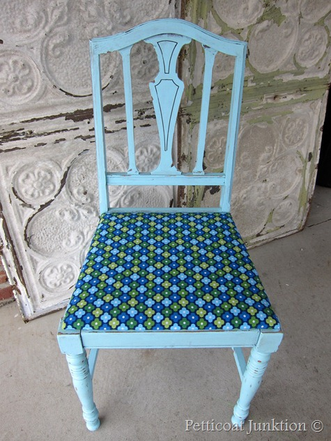 Painted Blue chair and AnneKelle Fabric seat, Petticoat Junktion