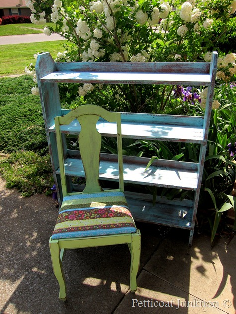 Painted green chair with Bohemian fabric seat, Petticoat Junktion