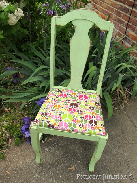 painted green chair with peace fabric seat, Petticoat Junktion