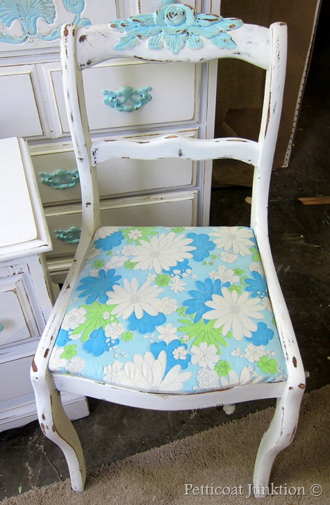 Blue and White painted chair with vintage floral fabric seat, Petticoat Junktion