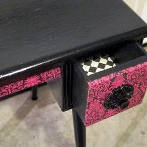 Decoupage Desk in Black and Fuchsia Damask