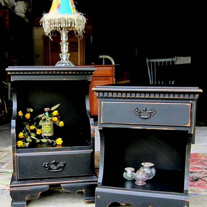 inexpensive yard sale furniture painted black