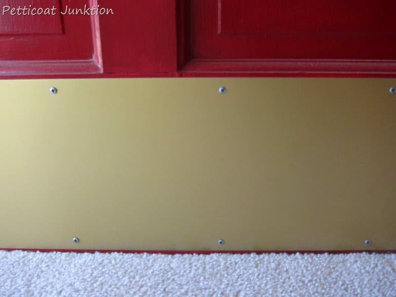 Spray Painting brass hardware, Petticoat Junktion. The kick plate ... - Budget Front Door Updates That Add Curb Appeal To Your Home