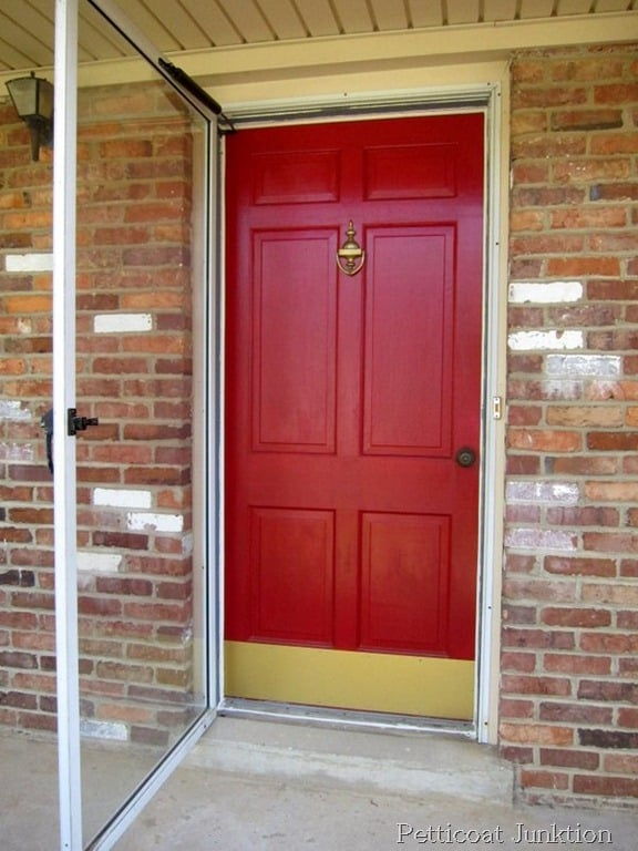Painted metal storm door and front door home improvement for Front door with storm door