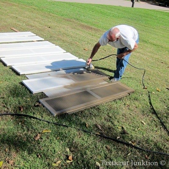 How to Paint Shutters using a paint sprayer, Petticoat Junktion