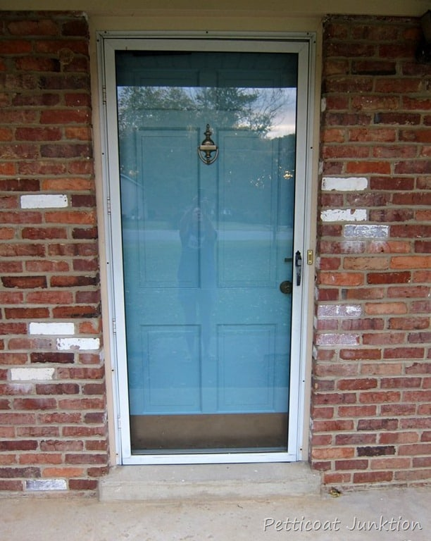 painted metal storm door and front door home improvement