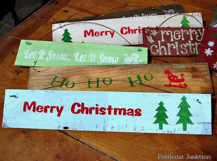 diy Christmas signs stenciled and stamped