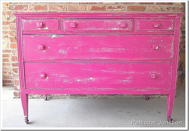 fabulous fuchsia dresser painted with latex paint