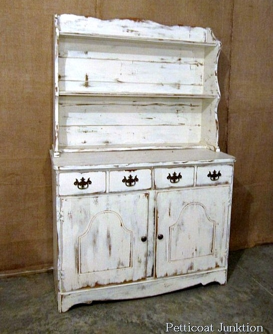 white hutch distressed