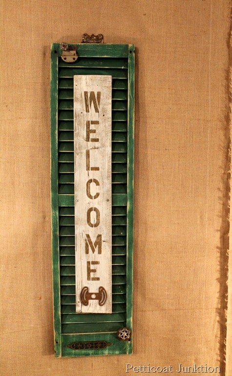 Welcome Shutter Sign From Reclaimed Junk Items