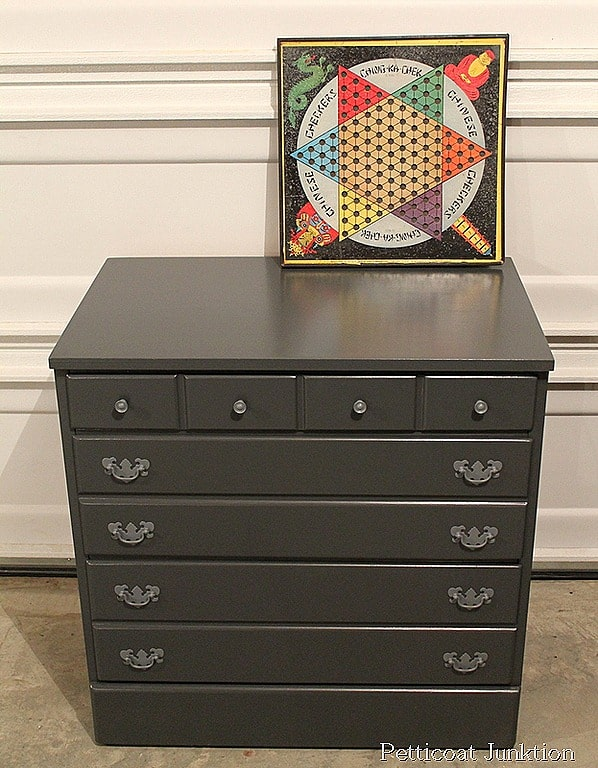 Painted Desk Hutch Dresser Gray