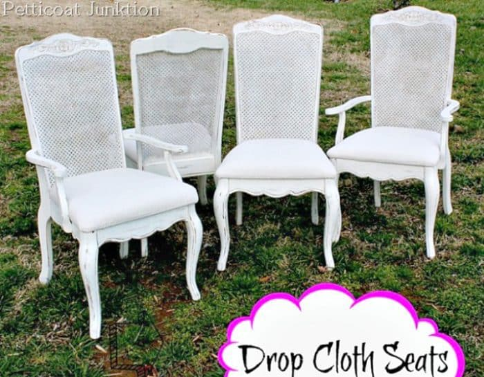 How about a fun and easy drop cloth diy idea? Cover chair seats with drop cloths for an easy, stylish, and inexpensive update.