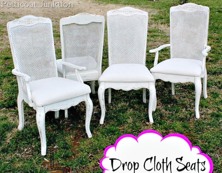 How About A Fun And Easy Drop Cloth Diy Idea? Cover Chair Seats With Drop