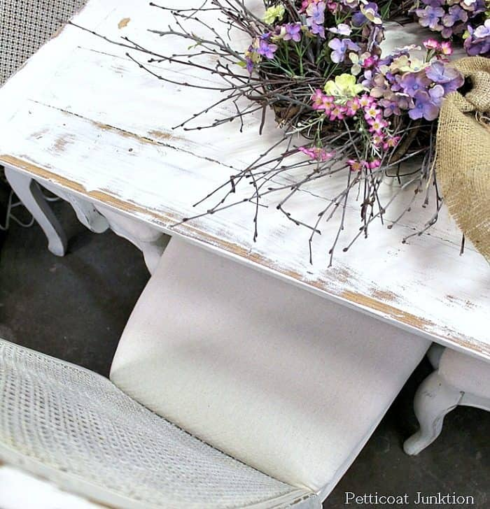 white shabby chic table and chairs with drop cloth seats