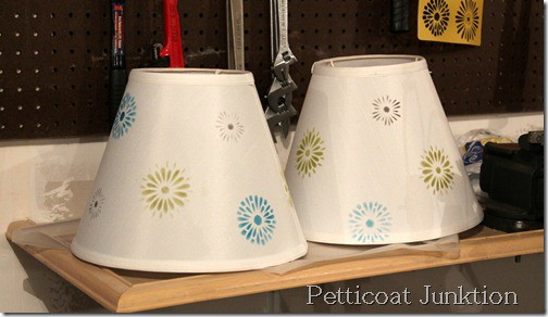 stenciled-lamp shades-diy
