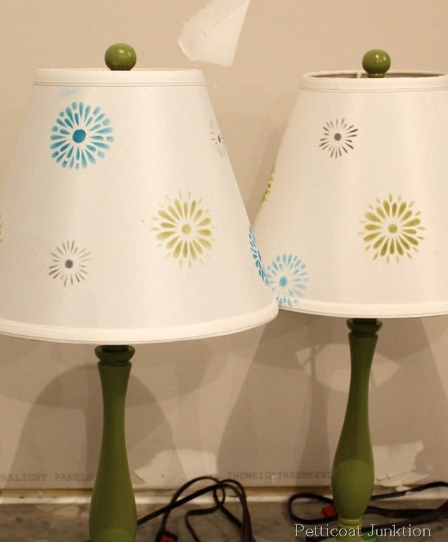 How many sisters does it take to stencil a lampshade petticoat junktion stenciled lamp shades diy tutorial aloadofball Choice Image